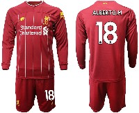 Mens 19-20 Soccer Liverpool Club #18 Alberto.m Red Home Long Sleeve Suit Jersey
