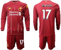 Mens 19-20 Soccer Liverpool Club #17 Klavan Red Home Long Sleeve Suit Jersey