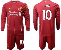 Mens 19-20 Soccer Liverpool Club #10 Mane Red Home Long Sleeve Suit Jersey