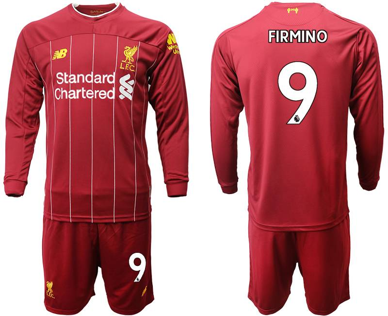 Mens 19-20 Soccer Liverpool Club #9 Firmino Red Home Long Sleeve Suit Jersey