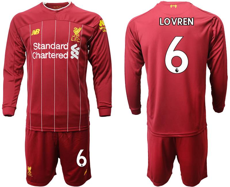 Mens 19-20 Soccer Liverpool Club #6 Lovren Red Home Long Sleeve Suit Jersey