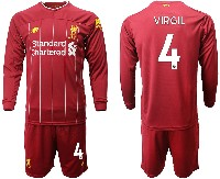 Mens 19-20 Soccer Liverpool Club #4 Virgil Red Home Long Sleeve Suit Jersey