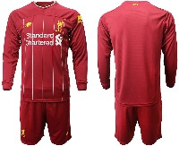 Mens 19-20 Soccer Liverpool Club ( Blank ) Red Home Long Sleeve Suit Jersey