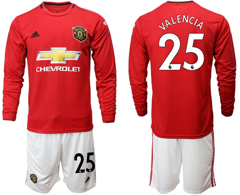Mens 19-20 Soccer Manchester United Club #25 Valencia Red Home Long Sleeve Suit Jersey