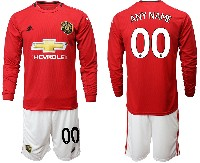 Mens 19-20 Soccer Manchester United Club ( Custom Made ) Red Home Long Sleeve Suit Jersey