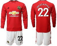 Mens 19-20 Soccer Manchester United Club #22 Mkhitaryan Red Home Long Sleeve Suit Jersey