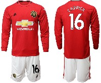 Mens 19-20 Soccer Manchester United Club #16 Carrick Red Home Long Sleeve Suit Jersey
