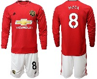 Mens 19-20 Soccer Manchester United Club #8 Mata Red Home Long Sleeve Suit Jersey