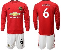 Mens 19-20 Soccer Manchester United Club #6 Pogba Red Home Long Sleeve Suit Jersey