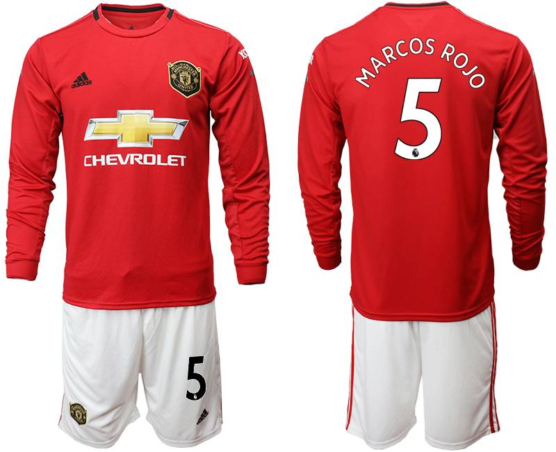 Mens 19-20 Soccer Manchester United Club #5 Marcos Rojo Red Home Long Sleeve Suit Jersey