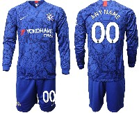 Mens 19-20 Soccer Chelsea Club ( Custom Made ) Blue Home Long Sleeve Suit Jersey