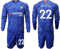 Mens 19-20 Soccer Chelsea Club #22 Willian Blue Home Long Sleeve Suit Jersey