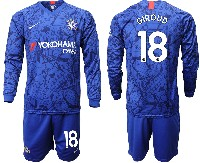 Mens 19-20 Soccer Chelsea Club #18 Giroud Blue Home Long Sleeve Suit Jersey