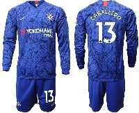 Mens 19-20 Soccer Chelsea Club #13 Caballero Blue Home Long Sleeve Suit Jersey
