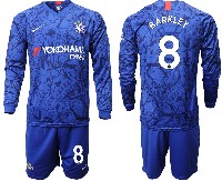 Mens 19-20 Soccer Chelsea Club #8 Barkley Blue Home Long Sleeve Suit Jersey