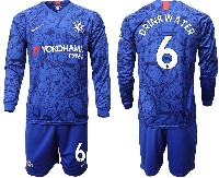 Mens 19-20 Soccer Chelsea Club #6 Drinkwater Blue Home Long Sleeve Suit Jersey