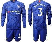 Mens 19-20 Soccer Chelsea Club #3 Marcos A. Blue Home Long Sleeve Suit Jersey