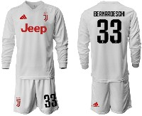 Mens 19-20 Soccer Juventus Club #33 Bernardeschi Away Long Sleeve Suit Jersey