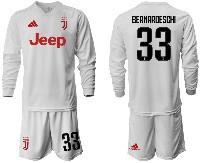 Mens 19-20 Soccer Juventus Club #33 Bernardeschi Away Long Sleeve Suit Jersey