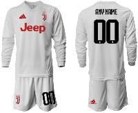 Mens 19-20 Soccer Juventus Club ( Custom Made ) Away Long Sleeve Suit Jersey