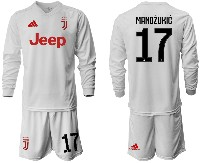 Mens 19-20 Soccer Juventus Club #17 Mandzukic Away Long Sleeve Suit Jersey