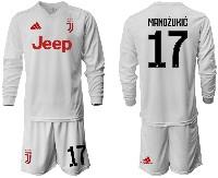Mens 19-20 Soccer Juventus Club #17 Mandzukic Away Long Sleeve Suit Jersey