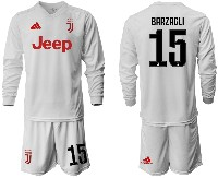 Mens 19-20 Soccer Juventus Club #15 Barzagli Away Long Sleeve Suit Jersey