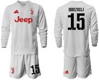 Mens 19-20 Soccer Juventus Club #15 Barzagli Away Long Sleeve Suit Jersey