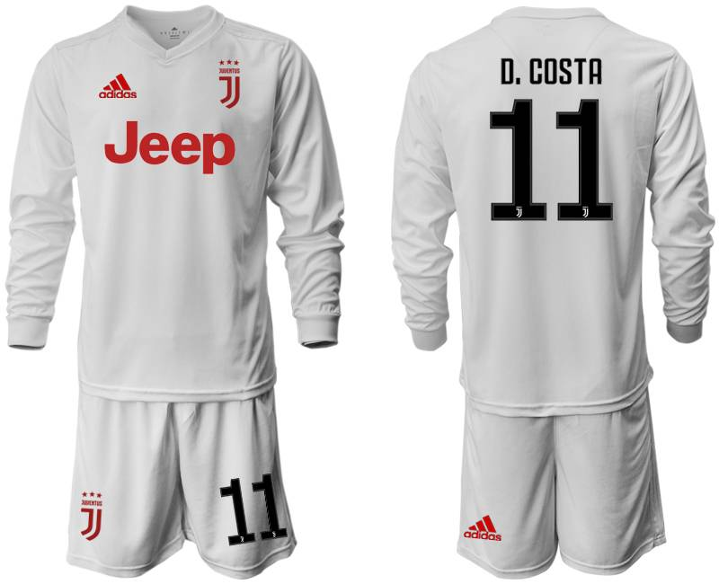 Mens 19-20 Soccer Juventus Club #11 D. Costa Away Long Sleeve Suit Jersey