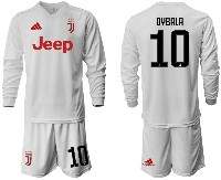 Mens 19-20 Soccer Juventus Club #10 Dybala Away Long Sleeve Suit Jersey