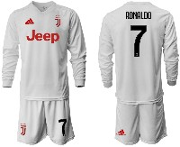 Mens 19-20 Soccer Juventus Club #7 Ronaldo Away Long Sleeve Suit Jersey