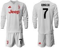 Mens 19-20 Soccer Juventus Club #7 Ronaldo Away Long Sleeve Suit Jersey