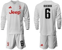 Mens 19-20 Soccer Juventus Club #6 Khedira Away Long Sleeve Suit Jersey