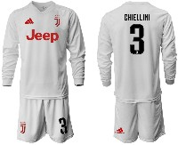 Mens 19-20 Soccer Juventus Club #3 Chiellini Away Long Sleeve Suit Jersey
