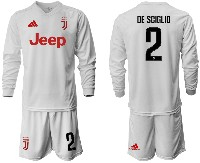Mens 19-20 Soccer Juventus Club #2 De Sciglio Away Long Sleeve Suit Jersey