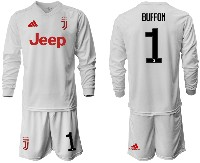 Mens 19-20 Soccer Juventus Club #1 Buffon Away Long Sleeve Suit Jersey