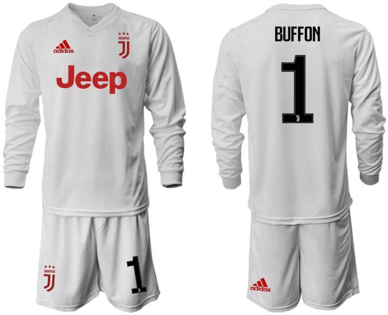 Mens 19-20 Soccer Juventus Club #1 Buffon Away Long Sleeve Suit Jersey