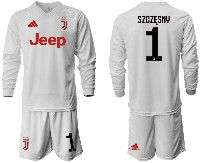 Mens 19-20 Soccer Juventus Club #1 Szczesny Away Long Sleeve Suit Jersey