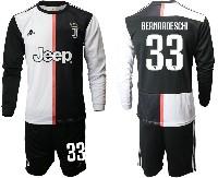 Mens 19-20 Soccer Juventus Club #33 Bernardeschi White & Black Home Long Sleeve Suit Jersey