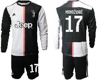 Mens 19-20 Soccer Juventus Club #17 Mandzukic White & Black Home Long Sleeve Suit Jersey