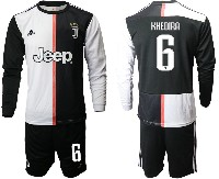 Mens 19-20 Soccer Juventus Club #6 Khedira White & Black Home Long Sleeve Suit Jersey