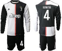 Mens 19-20 Soccer Juventus Club #4 Benatia White & Black Home Long Sleeve Suit Jersey