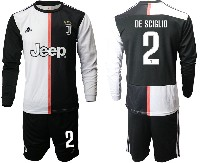 Mens 19-20 Soccer Juventus Club #2 De Sciglio White & Black Home Long Sleeve Suit Jersey