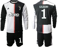 Mens 19-20 Soccer Juventus Club #1 Szczesny White & Black Home Long Sleeve Suit Jersey