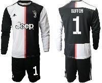 Mens 19-20 Soccer Juventus Club #1 Buffon White & Black Home Long Sleeve Suit Jersey