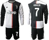 Mens 19-20 Soccer Juventus Club #7 Ronaldo White & Black Home Long Sleeve Suit Jersey