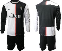 Mens 19-20 Soccer Juventus Club ( Blank ) White & Black Home Long Sleeve Suit Jersey