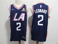Mens 2019 Nba Los Angeles Clippers #2 Kawhi Leonard Navy Blue City Edition Swingman Jersey