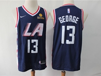 Mens 2019 Nba Los Angeles Clippers #13 Paul George Navy Blue City Edition Swingman Jersey