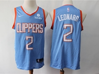 Mens 2019 Nba Los Angeles Clippers #2 Kawhi Leonard Light Blue City Edition Swingman Jersey